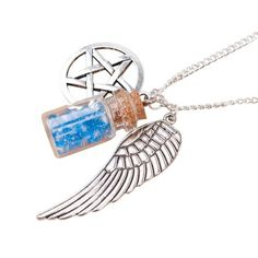 Supernatural Necklae - The necklace is crafted by hand and comes with three attached charms: A grace bottle, an angel wing and a pentagram. This is a must-have if you're serious about Supernatural!