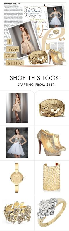 """HARRYDRESS.COM"" by purplerose27 ❤ liked on Polyvore featuring MICHAEL Michael Kors, Christian Louboutin, Movado, Jennifer Fisher, Oscar de la Renta, Blue Nile and harrydress"