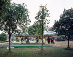 Completed in 2015 in Shanghai, China. Images by Chen Hao - Zhou Dingqi. Blossom Pavilion is a cooperative spatial device with artist Zhan Wang, which is also one of the spatial art pieces project of Shanghai Urban Space...