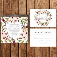 Floral Wreath Invitation - Betty Lu Designs