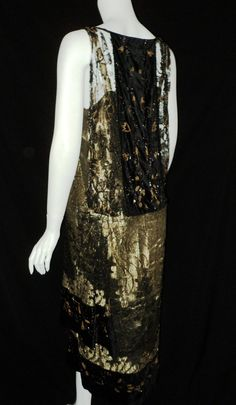 Art Deco Oreintalist Period Metallic Lace Velvet Beaded Dress French Couture Rare and Wearable 1920s