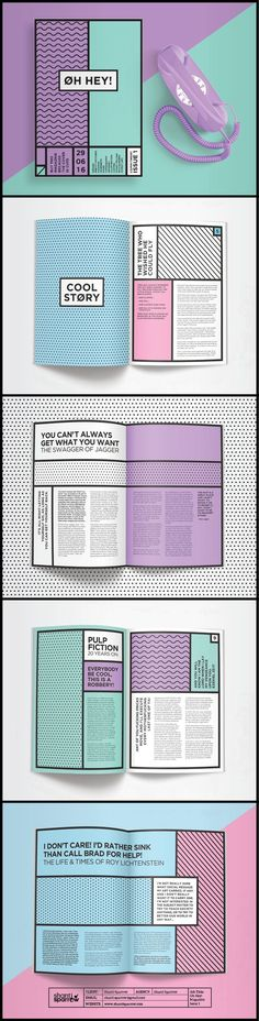This layout of book is very much a pop art feel with the bold back lines and typography as well as the bright colours that are of a pop art nature and seems like a cartoon style book. Graphisches Design, Buch Design, Logo Design, Design Ideas, Pop Art Design, Graphic Design Branding, Funky Design, Name Design, Design Editorial