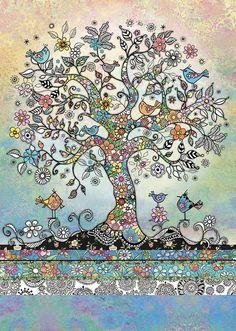 bug art E037 Tree of Birds greeting card