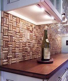 wine cork backsplash, Creative Kitchen Backsplash Ideas, http://hative.com/creative-kitchen-backsplash-ideas/,