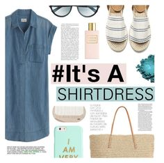 """#It's A Shirtdress"" by tasnime-ben ❤ liked on Polyvore featuring J.Crew, Tom Ford, Target, ban.do, HAY and shirtdress"