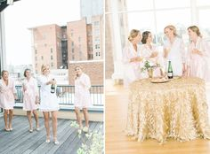 Bridesmaids enjoy a champagne toast in style at The Glass Box in downtown Raleigh via Southern Bride & Groom | Photo: Casey Rose Photography
