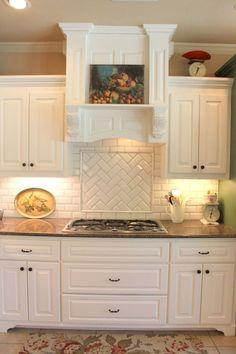 Ideas Kitchen Backsplash Herringbone Paint Colors For 2019 Backsplash For White Cabinets, White Subway Tile Backsplash, Painting Kitchen Cabinets, Kitchen Paint, Kitchen Backsplash, Backsplash Ideas, Backsplash Design, Subway Tiles, Tile Design