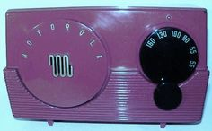 1952 Motorola Model 52R-16U. I was annoyed when I bought this one because the Ebay photo showed it a bright fire engine red. It's actually maroon