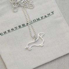 Dachshund Necklace Sterling now featured on Fab.