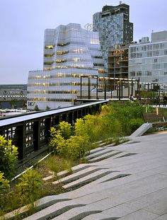 IAC Building (2007) and 100 11th Ave seen from the High Line Park in the Meat Packing District