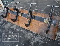When I'm done, I'm going to have like ten coat racks. I'll need to buy more coats! Industrial C Clamp Coat Rack ON SALE by urbanwoodandsteel on Etsy, design Industrial House, Industrial Interiors, Industrial Chic, Industrial Furniture, Vintage Industrial, Industrial Design, Diy Furniture, Industrial Closet, Industrial Windows