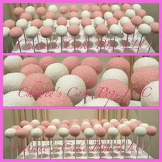 Baby pink and white theme cake pops