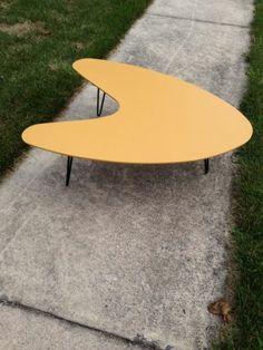 Atomic Boomerang Coffee Table Hairpin Legs Mid Century Modern