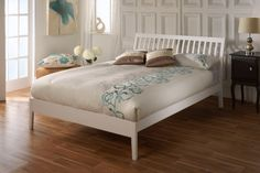Sturdy and stylish wooden bed frame. Features a high slatted curved headboard and low foot end. Available in a quality white finish. Single x Small Double x Double x King Size x Manufactured by Limelight. Similar to Verona wooden bed frame. Furniture, Traditional Bedroom, White Bed Frame, White Bedroom Furniture, Bed Frame Sizes, Upholstered Bed Frame, Bed Frame, White Single Bed Frame, White Bedding