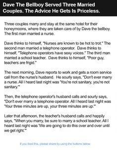 Dave The Bellboy Served Three Married Couples. The Advice He Gets Is Priceless.