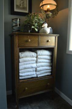 DIY Antique Dresser in bath for towels