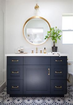 Most Popular Cabinet Paint Colors Blue Bathroom Vanity, Navy Blue Bathrooms, Blue Vanity, Master Bathroom, Bathroom Vanities, Vanity Desk, Bathroom Closet, Downstairs Bathroom, Bathroom Fixtures