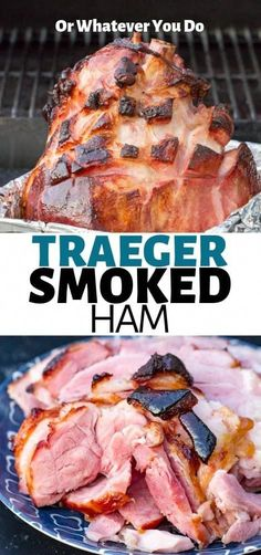 Traeger Smoked Ham — Delicious double-smoked Traeger grilled ham is the perfect star of your Easter or Christmas table! The Maple-prosecco glaze is one of my favorite ham glazes, EVER. Traeger Recipes, Smoked Meat Recipes, Pork Recipes, Traeger Bbq, Recipies, Hamburger Recipes, Oven Recipes, Clean Eating Snacks, Bon Appetit