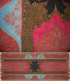 Kashmiry Shawls Antique Kashmiri Shawl, This is a extra-ordinary fine shawl.Is fragment with few small holes Mid Century Size x Size 305 x Paisley Design, Paisley Pattern, Abstract Pattern, Textile Prints, Textile Art, Textiles, Textures Patterns, Print Patterns, Kashmiri Shawls