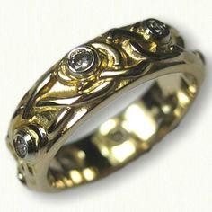 Yellow Gold Adare Knot Wedding Band with Bezel Set Diamonds Celtic Wedding Bands, Wedding Rings, Celtic Knot, Knots, Gold Rings, Wedding Inspiration, Diamonds, White Gold, Rose Gold