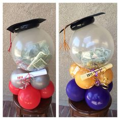 Any young grad will LOVE this money gift balloon idea! Custom Balloon Centerpiece designs for graduation parties and grad gifts. We can create festive and custom centerpieces for any party. Graduation Party Centerpieces, Graduation Party Themes, Graduation Balloons, Balloon Centerpieces, Graduation Celebration, Graduation Decorations, Graduation Party Decor, Grad Parties, Balloon Decorations