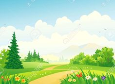 Vector illustration of a forest path at the mountains. Forest Background, Landscape Background, Art Background, Forest Landscape, Green Landscape, Mountain Landscape, Background Clipart, Background Pictures, Free Vector Art