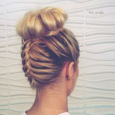 Upsidedown french braid into a bun. For more hair inspiration visit Instagram: @wb_upstyles