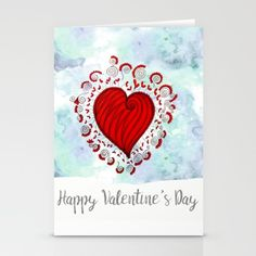 Watercolor zen style love heart Stationery Cards Love bears all things, believes all things, hopes all things, endure all things, LOVE NEVER ENDS Happy Valentine's day