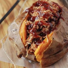Pulled Pork Stuffed Sweet Potato Recipe. Did this tonight but ended up eating them separately. But it was still yummy as could be!!