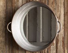 Add some interest to any room in your home with the employment of this vintage-inspired Wash Tub Mirror. A take on the ole metal wash tub, this mirror is most c Metal Wash Tub, Wash Tubs, Antique Farmhouse, Farmhouse Chic, Farmhouse Mirrors, Industrial Farmhouse, Farmhouse Plans, Outhouse Bathroom, Pallet Bathroom