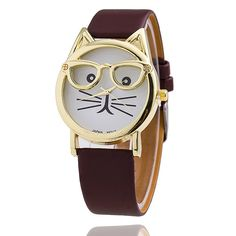 Women Fashion Geneva Cat Watches 10 colors Leather Strap Glasses Watch