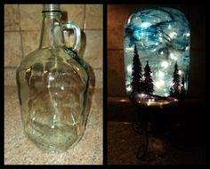 An easy to do project with a string of twinkle lights and a large bottle: - 1 large bottle- 1 string of twinkle lights- Blue paint, black spray paint- Black�