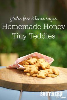 Homemade Honey Tiny Teddies Recipe - gluten free, nut free, egg free, healthy, low sugar