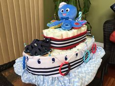 My first diaper boat is a success! Made it for a baby shower themed 'Ahoy its a boy!'