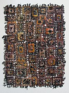 Fiber and Textile, Sue Lenz, Artist, In Box LXXV, framed, embellished fabric art, 19 1/4 x 15 1/4
