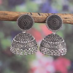 Your place to buy and sell all things handmade Indian Jewelry Earrings, Indian Jewelry Sets, Jhumki Earrings, Silver Jewellery Indian, Jewelry Design Earrings, Gold Earrings Designs, Ear Jewelry, Designer Earrings, Etsy Earrings
