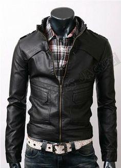 Handmade men black leather jacket, men black front button panel design and cross flap pockets. Only $129.99