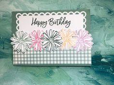 Teresa's Creative Cards: Dutch Door fold meets Color & Contour stamp set Color Contour, Dutch Door, Creative Cards, Pansies, Stampin Up, Happy Birthday, Fun, Happy Brithday, Urari La Multi Ani