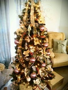 Pink Gold Christmas Tree Love It Balls Ribbon