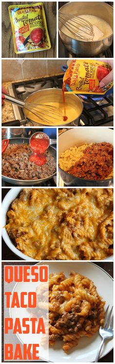 Queso Taco Pasta Bake precook the sauce and pasta at home, then reheat on the road and serve. Pasta Recipes, Beef Recipes, Mexican Food Recipes, Cooking Recipes, Mexican Dishes, Family Recipes, Recipies, I Love Food, Good Food