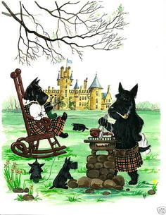 The Scotties at home.