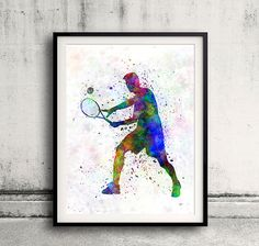 tennis player in silhouette 01 SKU 0576 by Paulrommer on Etsy