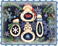CC129 - What's In My Belly Snowman Ornaments -  Painting E Pattern - pinned by pin4etsy.com