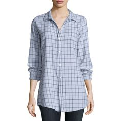 Frank & Eileen Shirley Long-Sleeve Plaid Blouse ($240) ❤ liked on Polyvore featuring tops, blouses, gywpf, plaid blouse, grey blouse, plaid top, loose blouse and button front blouse