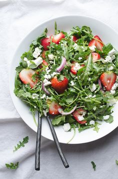 Baby Arugula and Strawberry Salad with Feta-this beautiful salad ...