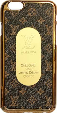 Louis Vuitton Brown Classic Small Logo Gold Frame iPhone 6/6s + Plus Case