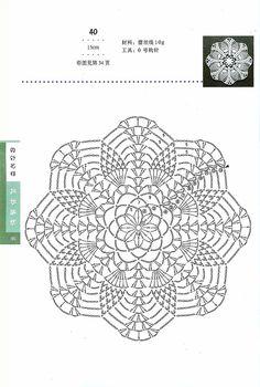 "Photo from album ""Bianzhi 2007 Crochet"" on Yandex. Crochet Doily Diagram, Crochet Motif Patterns, Crochet Lace Edging, Freeform Crochet, Crochet Round, Crochet Chart, Crochet Squares, Crochet Home, Crochet Doilies"