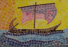 5th Grade: Art; Ancient History and Mythology; Greece: Colored Paper Mosaic: The Argo