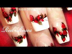 Red Rose Nails | Elegant Flower Nail Art Design Tutorial - YouTube