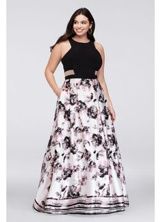 Illusion Cutout Printed Charmeuse Plus Size Gown S144W